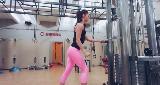 Упражнение упражнение поочередное разгибание рук на верхнем блоке стоя