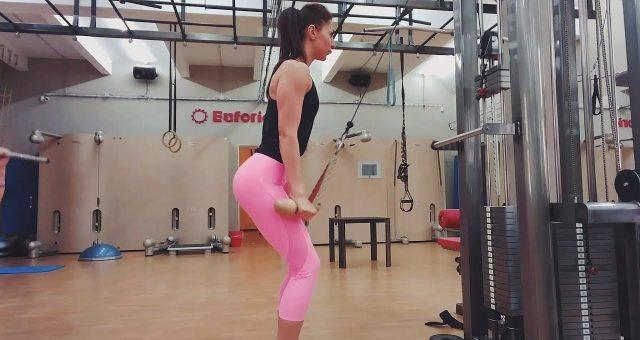 Упражнение упражнение разгибание рук на верхнем блоке канатной рукоятью на трицепс