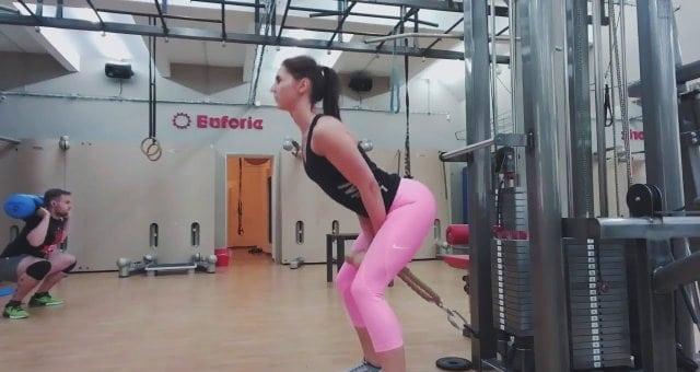 Упражнение упражнение тяга с нижнего блока для ягодиц стоя спиной к тренажеру