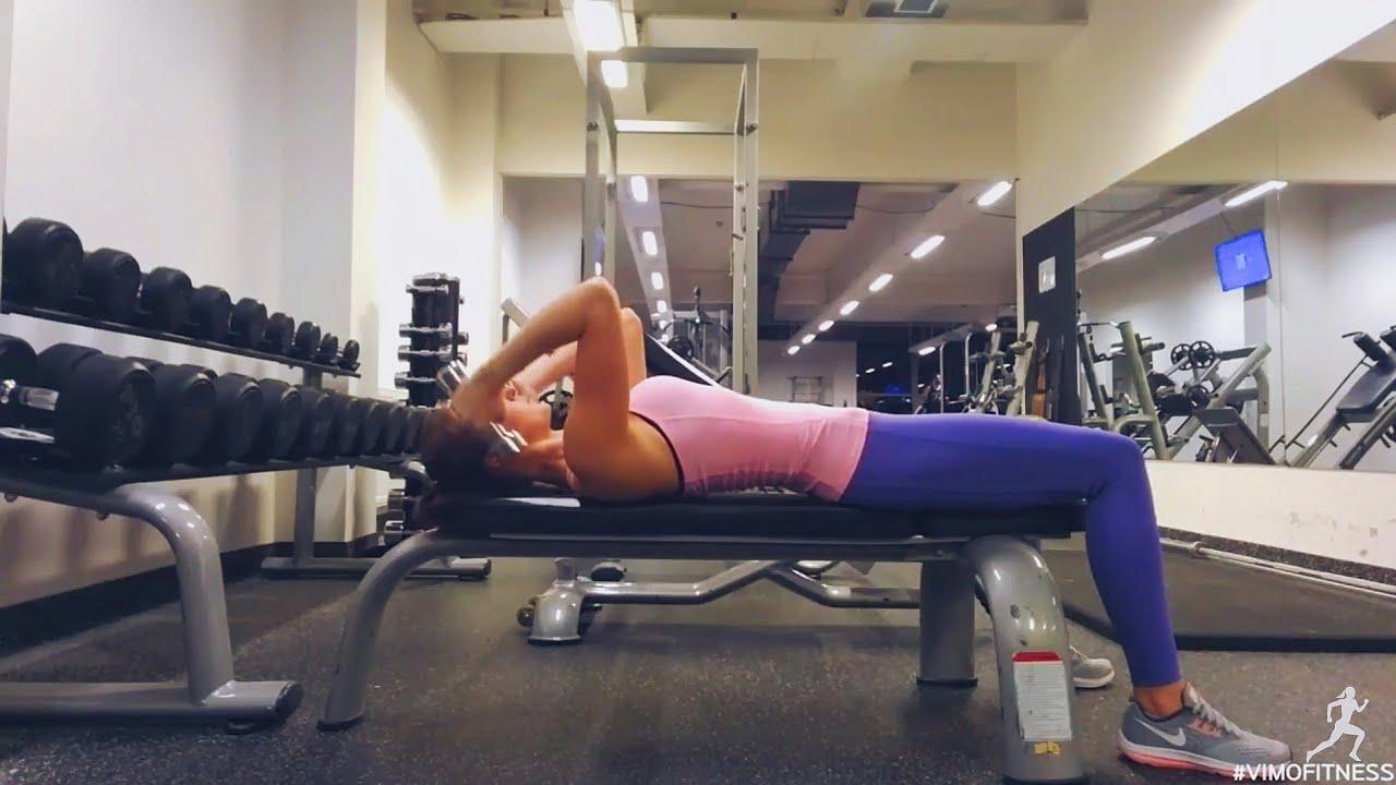 Упражнение упражнение разгибание рук с гантелями из-за головы лежа