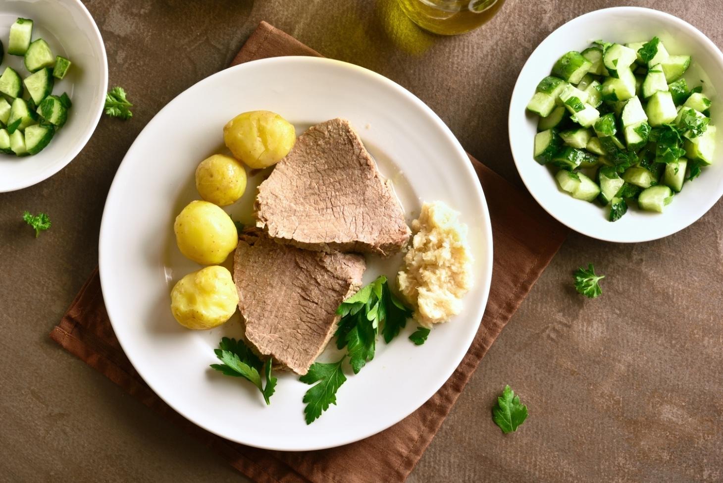 Картофель с отварное говядиной